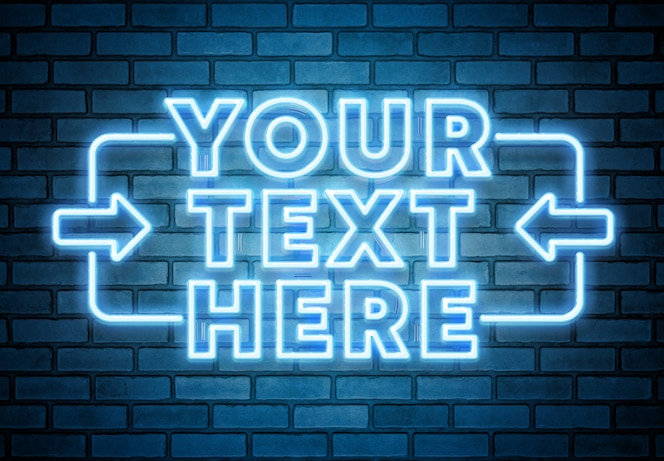 Texto de néon azul na maquete da parede de tijolo