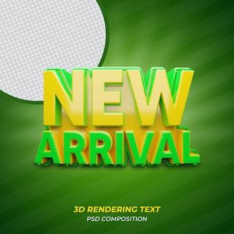 Texto de renderização 3d em cor verde new arrival