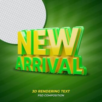 Texto de renderização em 3d de cor verde recém-chegado