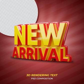 Texto de renderização em 3d de cor vermelha recém-chegado