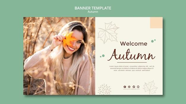 Texto de saudações de modelo de banner outono