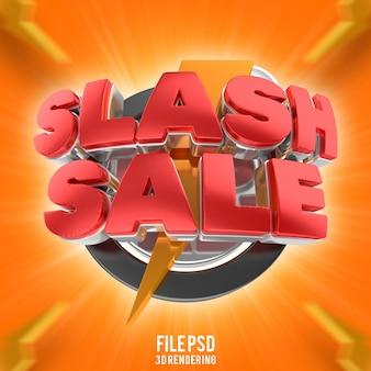 Texto de venda em flash com desconto na renderização 3d