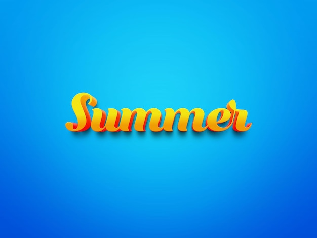Texto de verão com efeito em fundo azul