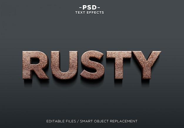 Texto editável de efeito enferrujado realista 3d