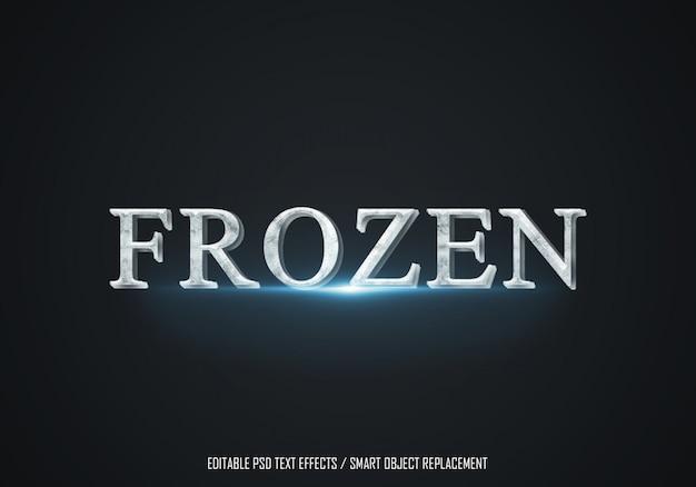 Texto editável de efeito gelo congelado