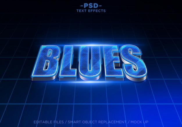 Texto editável de efeitos 3d blues techno