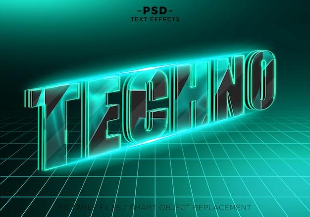 Texto editável de efeitos 3d techno