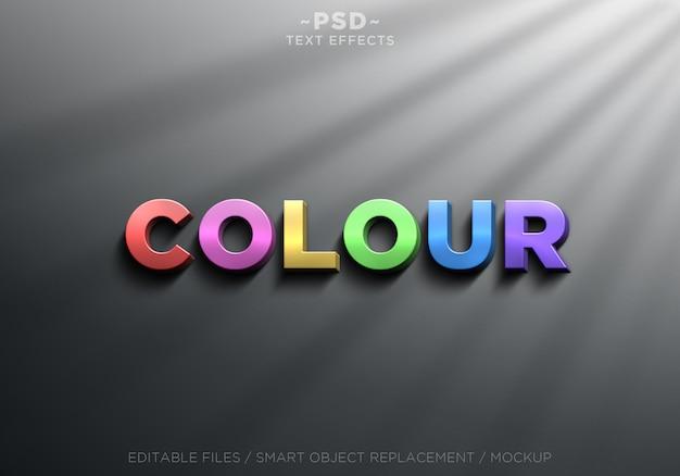 Texto editável de efeitos de cores realistas em 3d