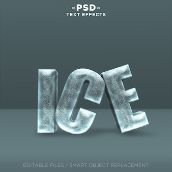 Texto editável de efeitos de gelo realista 3d