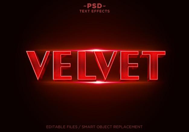 Texto editável de efeitos de veludo vermelho 3d