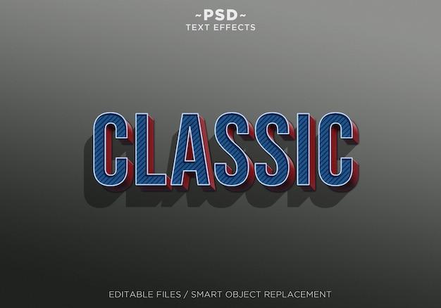 Texto editável do efeito 3d azul vermelho clássico