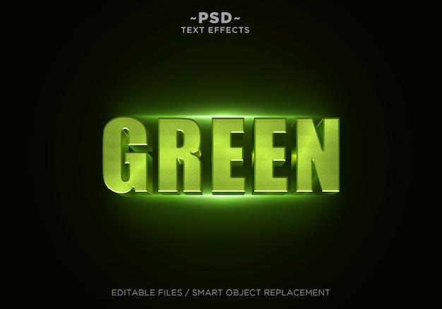Texto editável do efeito 3d de brilho verde