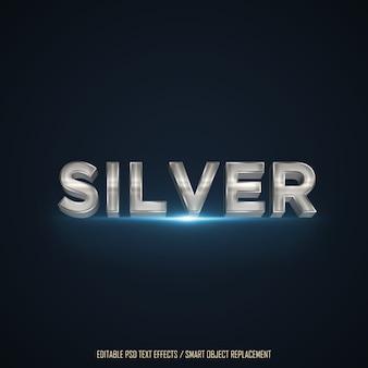 Texto editável do efeito 3d de prata