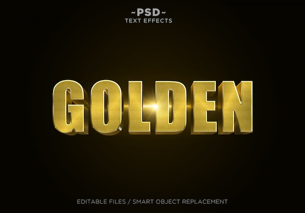 Texto editável do efeito 3d glitter dourado