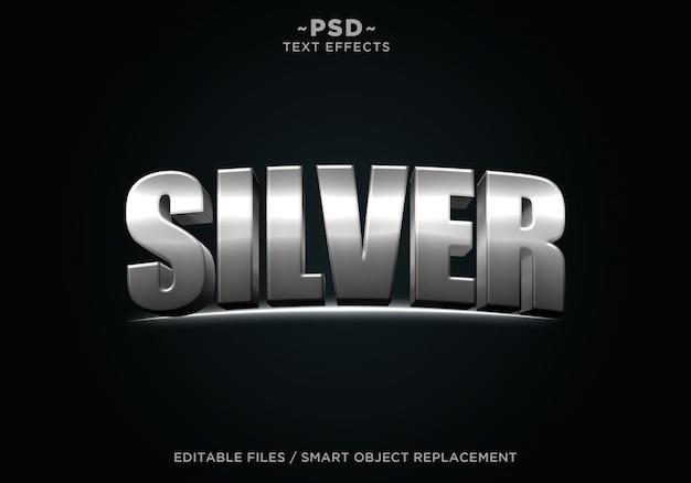 Texto editável do efeito cinematográfico de prata 3d