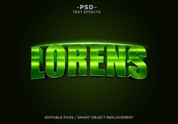 Texto editável do efeito cinematográfico verde de lorens 3d