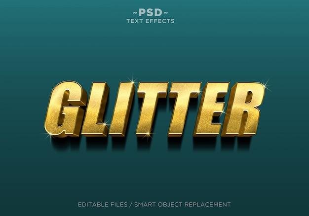 Texto editável do efeito do ouro do brilho 3d