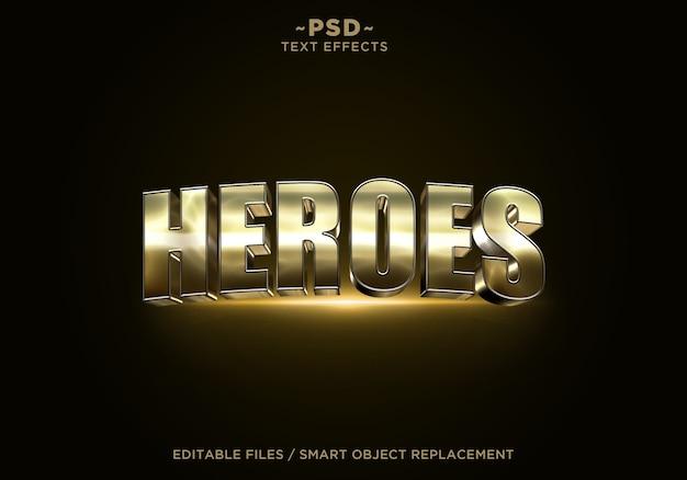 Texto editável do efeito dourado 3d heroes
