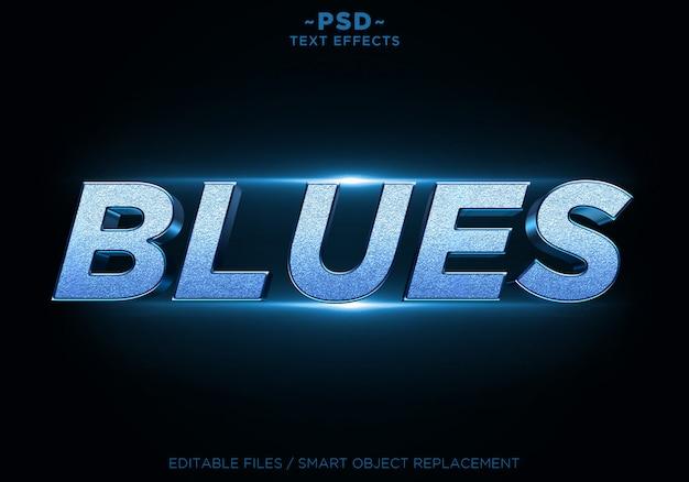 Texto editável dos efeitos do brilho dos azuis 3d