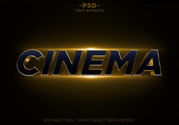 Texto editável dos efeitos dourados do brilho do cinema 3d