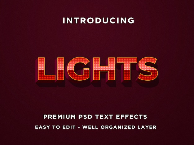 Texto editável effect - lights dotted red metal style