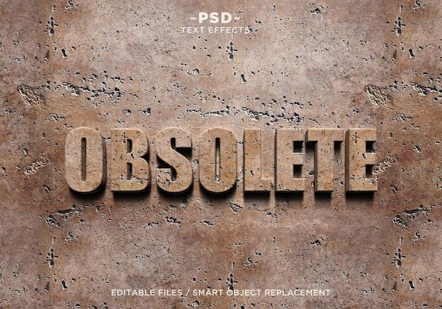Texto editável em 3d obsolete wall effects