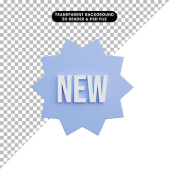 Texto novo de ícone simples de ilustração 3d com crachá Psd Premium