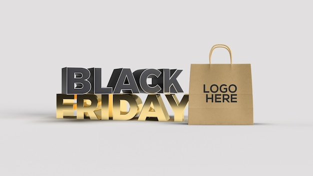 Texto preto e dourado de sexta-feira em 3d renderizado com maquete de sacola de compras
