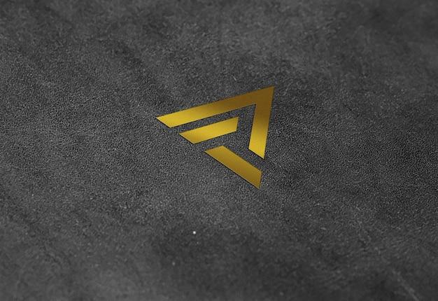 Textura de couro efeito dourado logotipo maquete