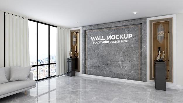 Textura de parede de escritório de maquete de logotipo 3d realista