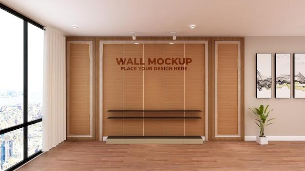 Textura de parede de escritório de maquete de madeira realista com logotipo 3d