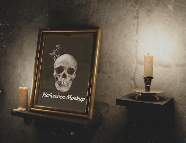 Textura de parede vintage com velas e moldura