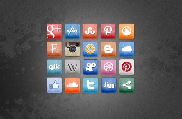 Textura ícones de mídia social ao quadrado