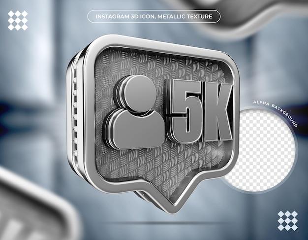 Textura metálica de 5 mil seguidores do ícone 3d do instagram