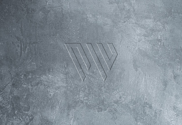 Textura muro concreto fresco debossed logotipo maquete