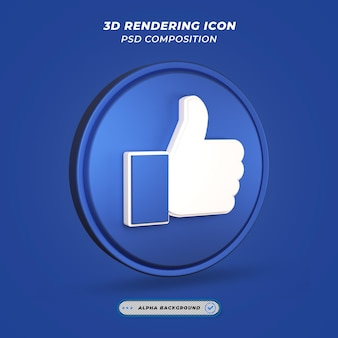 Thumbs up like icon na renderização 3d