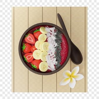 Tigela 3d de smoothie de frutas vermelhas com morango, banana, coco e sementes de chia em uma esteira de bambu
