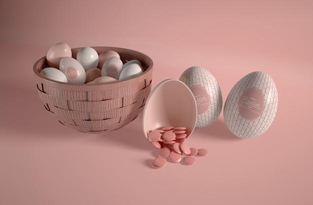 Tigela de alto ângulo com ovos de páscoa