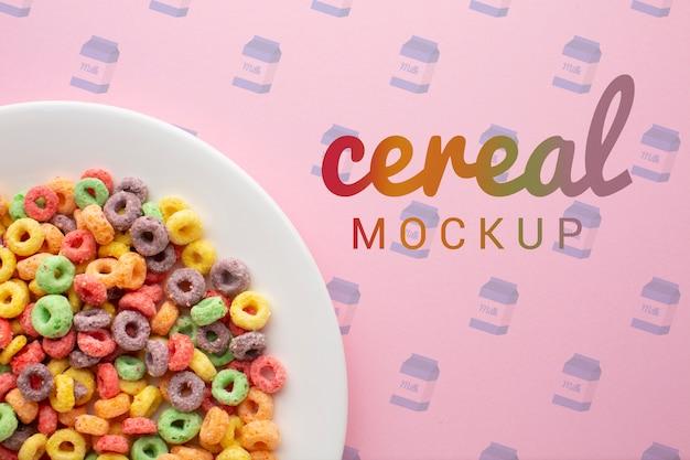 Tigela de close-up com cereais no café da manhã