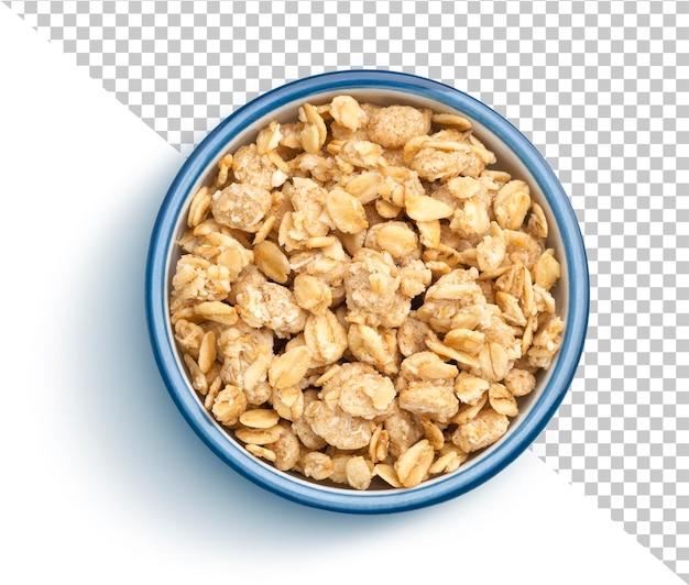 Tigela de muesli crocante de granola isolada