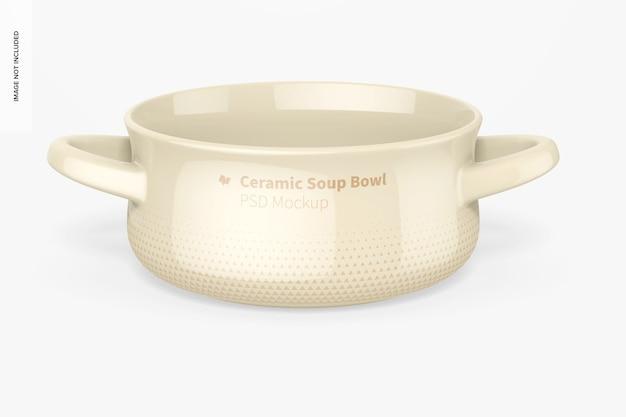 Tigela de sopa de cerâmica com maquete de alças