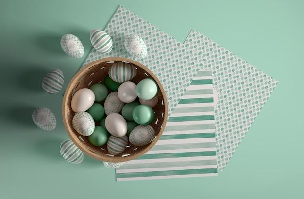 Tigela plana leiga com ovos pintados para a páscoa
