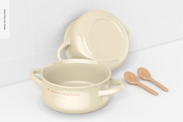 Tigelas de sopa de cerâmica com maquete de alças, vista traseira e frontal