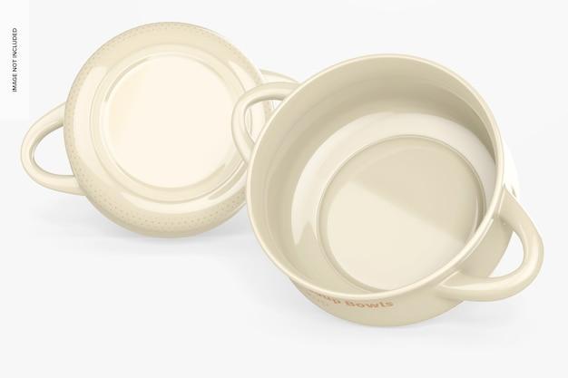 Tigelas de sopa de cerâmica com maquete de alças