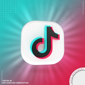 Tiktok 3d aplication icon branco