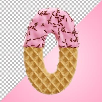 Tipo de letra do alfabeto com waffle e granulado de chocolate isolado