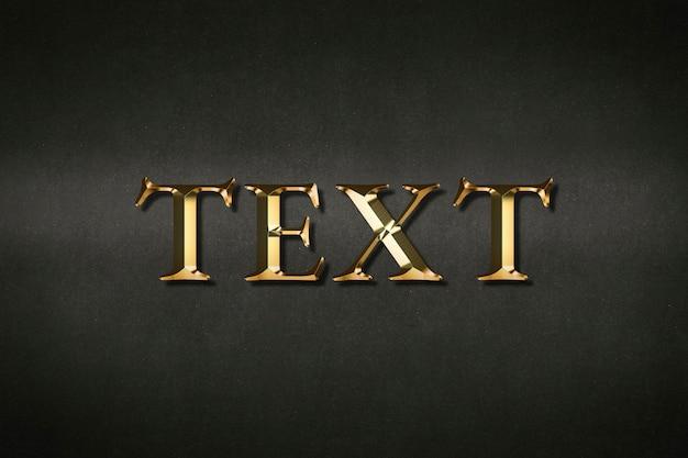 Tipografia de texto com efeito dourado em fundo preto