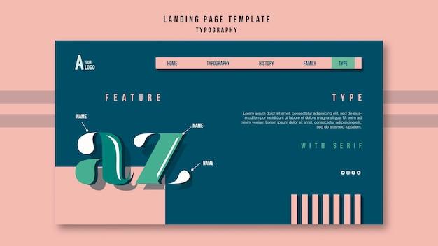 Tipografia do modelo de página de destino