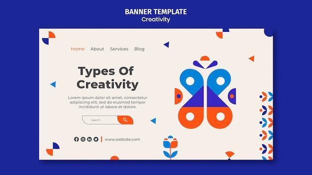 Tipos de modelo de banner horizontal de criatividade