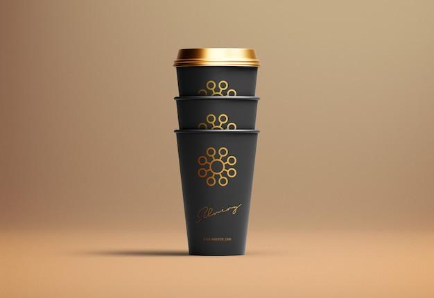 Tirar o conjunto de maquete de xícara de café de papel de três